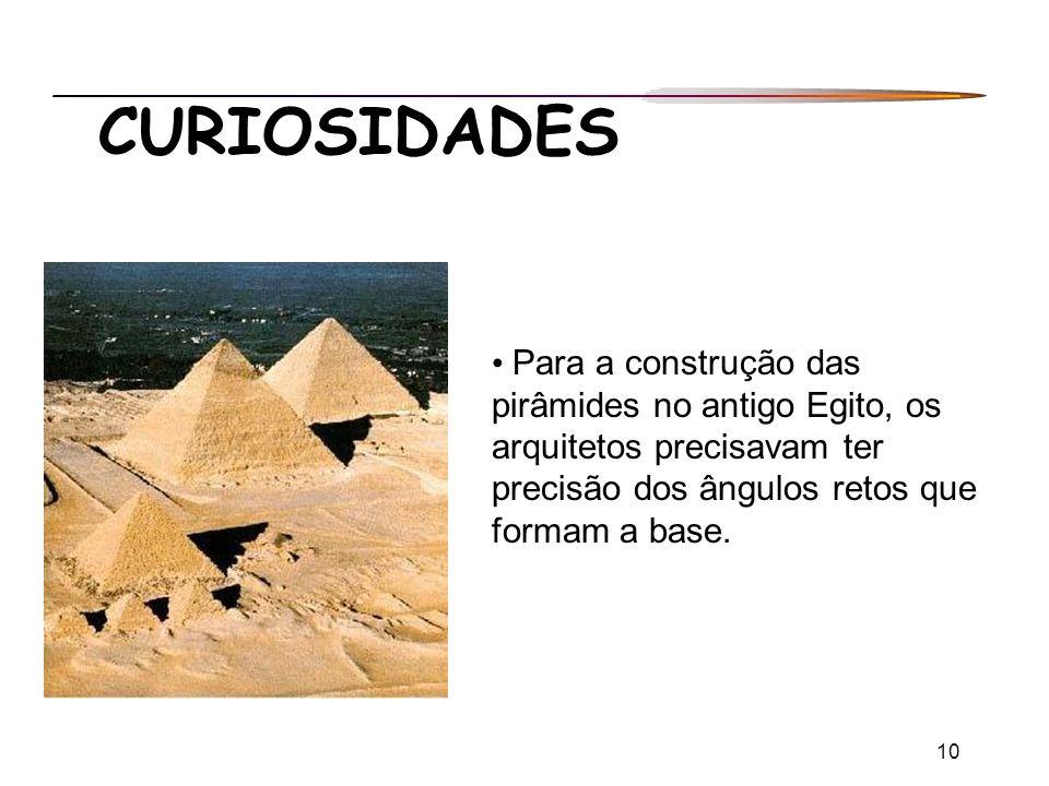 CURIOSIDADES Para a construção das pirâmides no antigo Egito, os arquitetos precisavam ter precisão dos ângulos retos que formam a base.