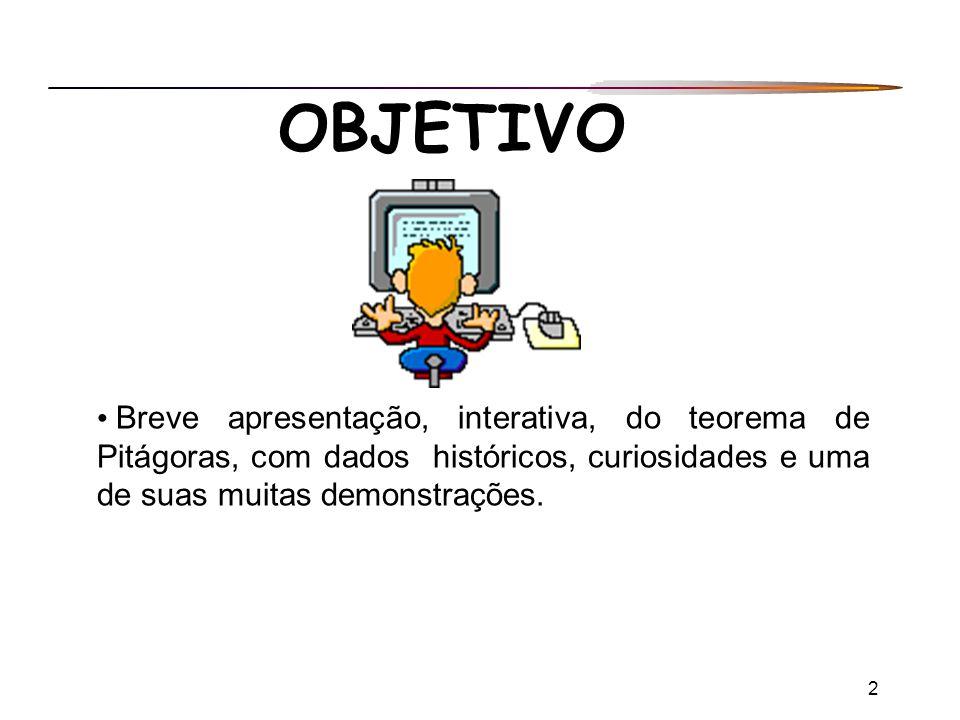 OBJETIVO Breve apresentação, interativa, do teorema de Pitágoras, com dados históricos, curiosidades e uma de suas muitas demonstrações.