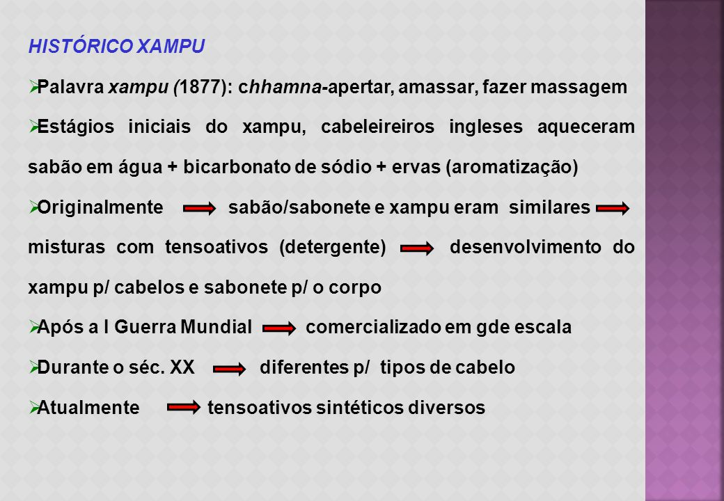 HISTÓRICO XAMPU Palavra xampu (1877): chhamna-apertar, amassar, fazer massagem.