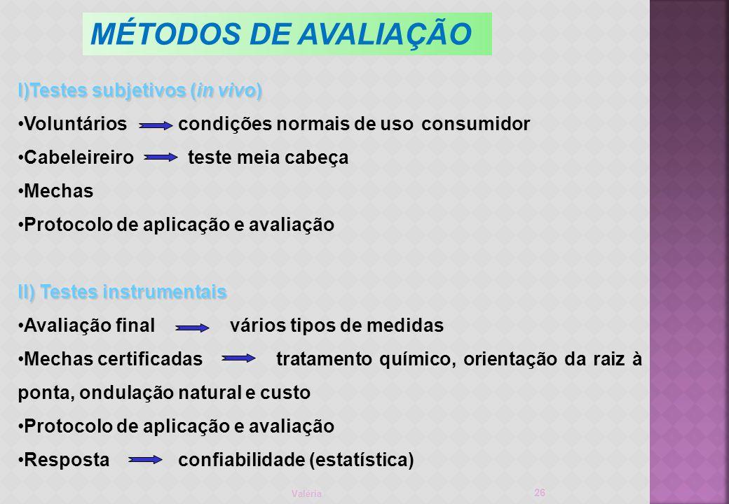 MÉTODOS DE AVALIAÇÃO Testes subjetivos (in vivo)