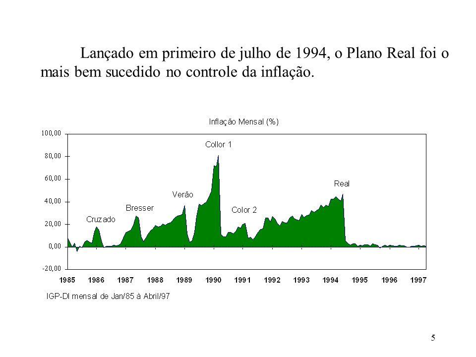 Lançado em primeiro de julho de 1994, o Plano Real foi o mais bem sucedido no controle da inflação.