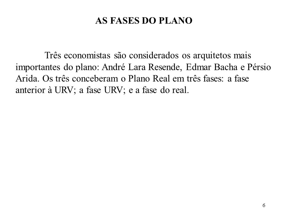 AS FASES DO PLANO