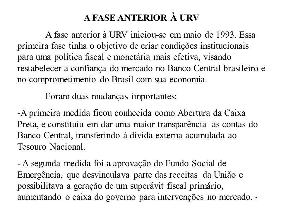 A FASE ANTERIOR À URV