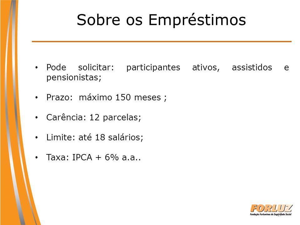 Sobre os Empréstimos Pode solicitar: participantes ativos, assistidos e pensionistas; Prazo: máximo 150 meses ;