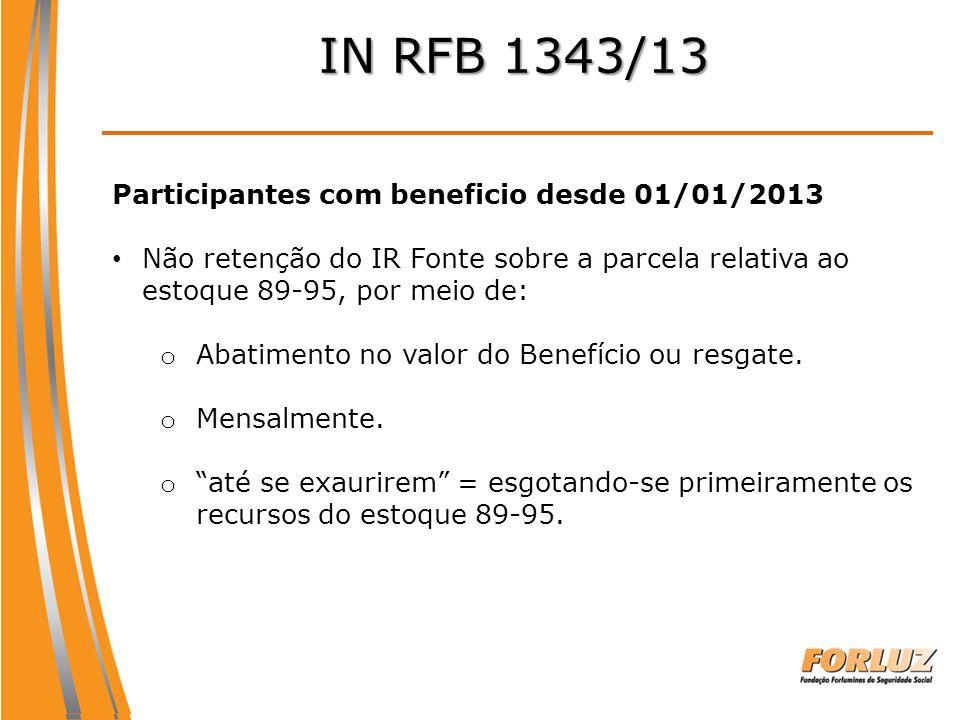 IN RFB 1343/13 Participantes com beneficio desde 01/01/2013