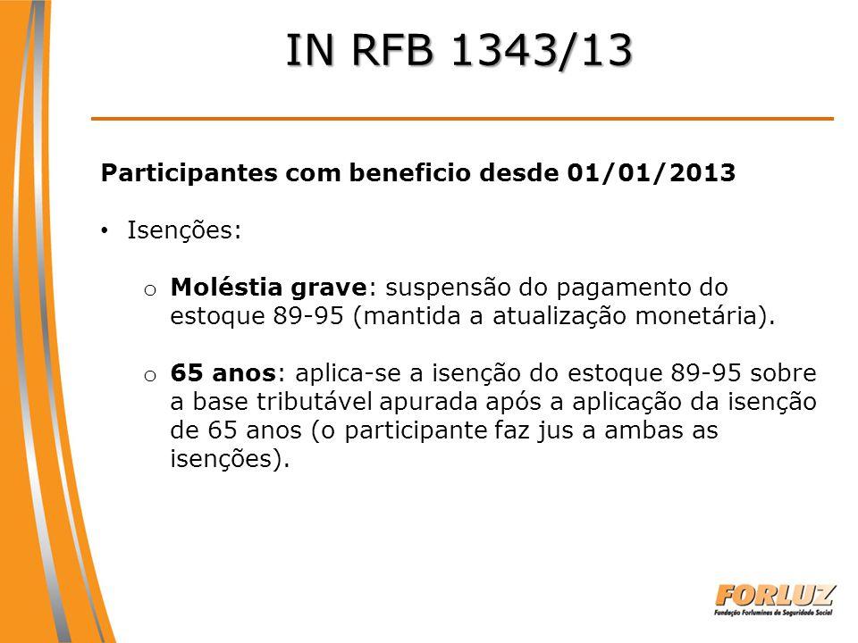 IN RFB 1343/13 Participantes com beneficio desde 01/01/2013 Isenções: