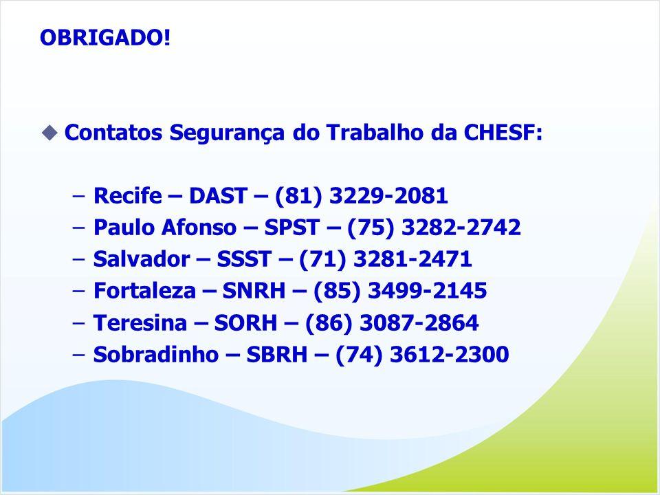 OBRIGADO! Contatos Segurança do Trabalho da CHESF: Recife – DAST – (81) 3229-2081. Paulo Afonso – SPST – (75) 3282-2742.