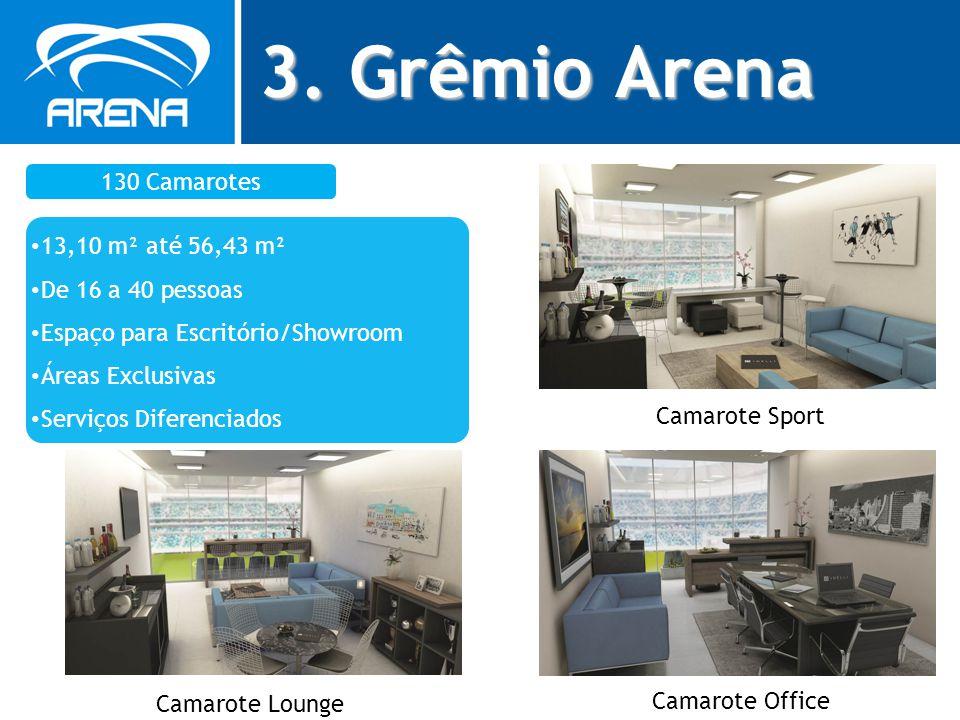 3. Grêmio Arena 130 Camarotes 13,10 m² até 56,43 m² De 16 a 40 pessoas