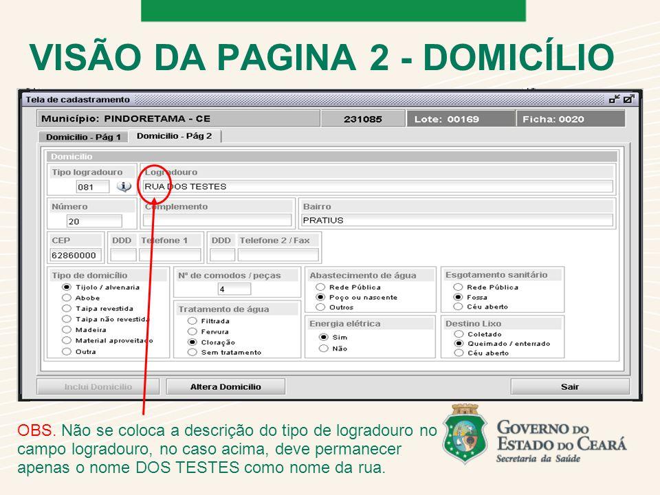 VISÃO DA PAGINA 2 - DOMICÍLIO