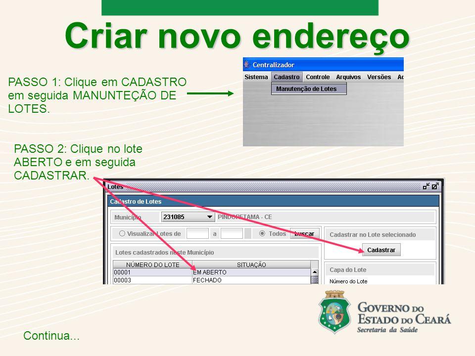 Criar novo endereço PASSO 1: Clique em CADASTRO em seguida MANUNTEÇÃO DE LOTES. PASSO 2: Clique no lote ABERTO e em seguida CADASTRAR.