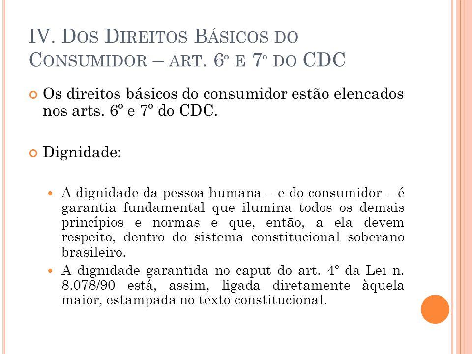 IV. Dos Direitos Básicos do Consumidor – art. 6º e 7º do CDC