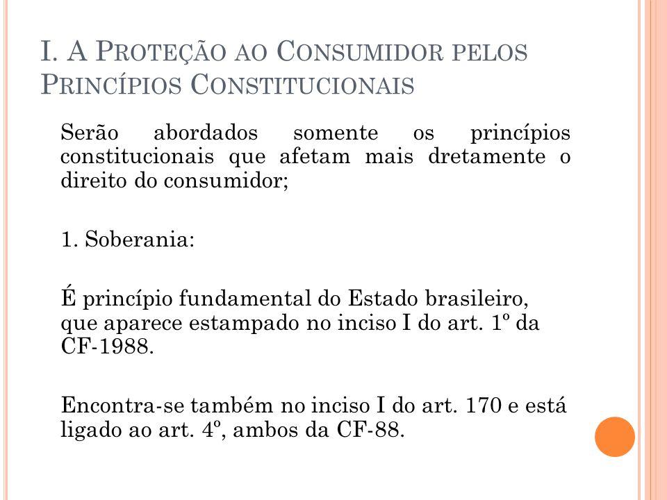I. A Proteção ao Consumidor pelos Princípios Constitucionais