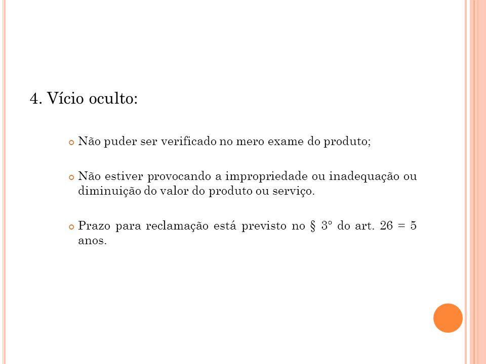 4. Vício oculto: Não puder ser verificado no mero exame do produto;