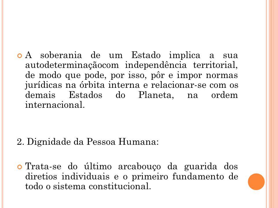 A soberania de um Estado implica a sua autodeterminaçãocom independência territorial, de modo que pode, por isso, pôr e impor normas jurídicas na órbita interna e relacionar-se com os demais Estados do Planeta, na ordem internacional.
