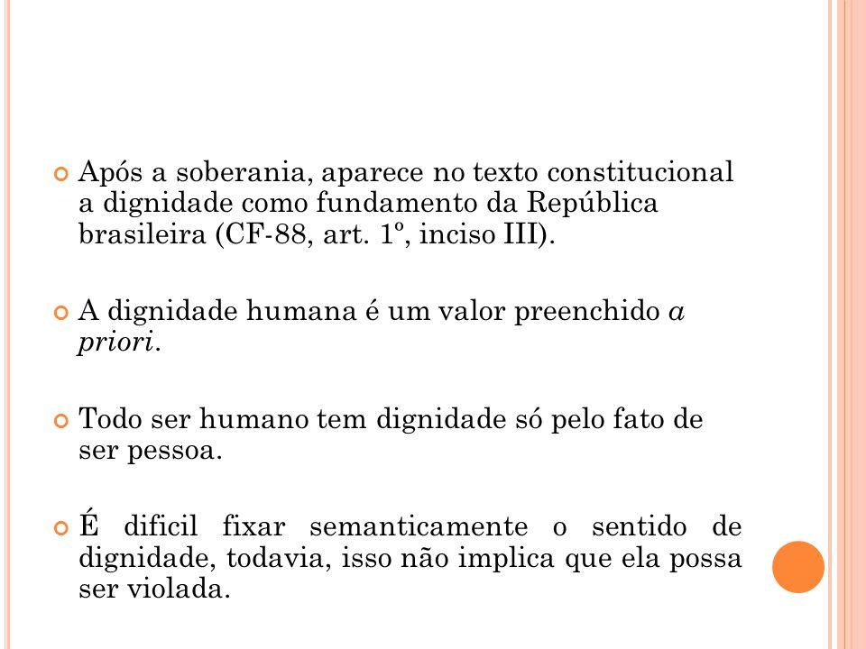 Após a soberania, aparece no texto constitucional a dignidade como fundamento da República brasileira (CF-88, art. 1º, inciso III).