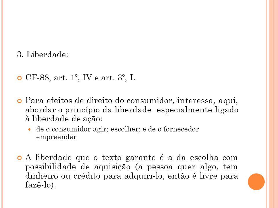 3. Liberdade: CF-88, art. 1º, IV e art. 3º, I.