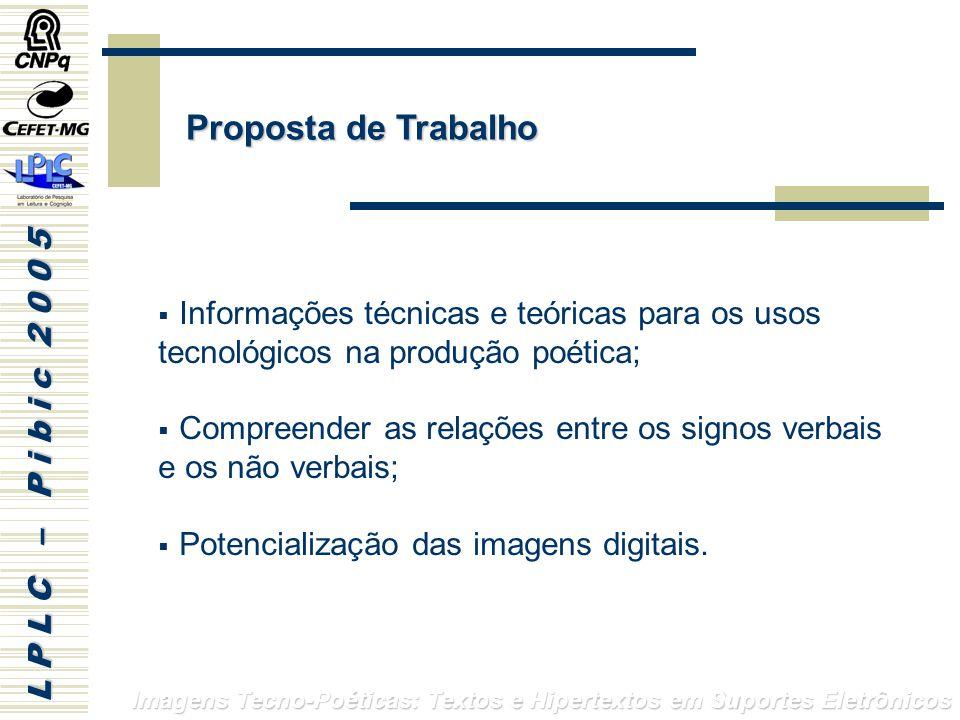 Proposta de Trabalho Informações técnicas e teóricas para os usos tecnológicos na produção poética;