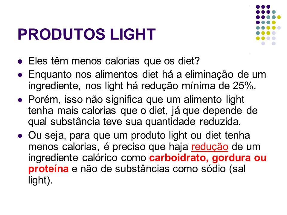 PRODUTOS LIGHT Eles têm menos calorias que os diet