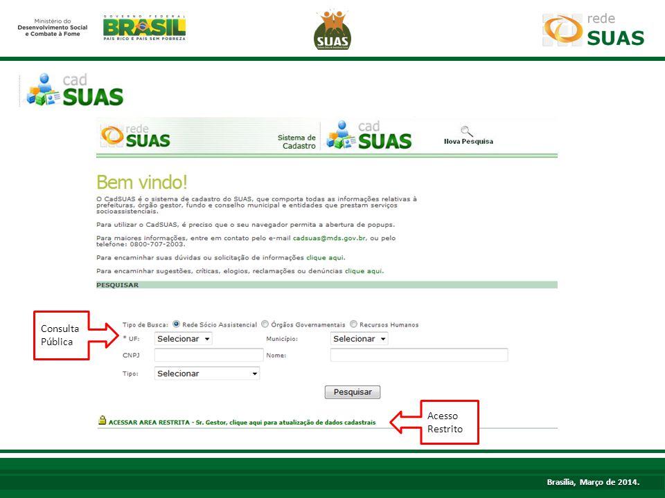 TÍTULO Consulta Pública Acesso Restrito Brasília, Março de 2014.
