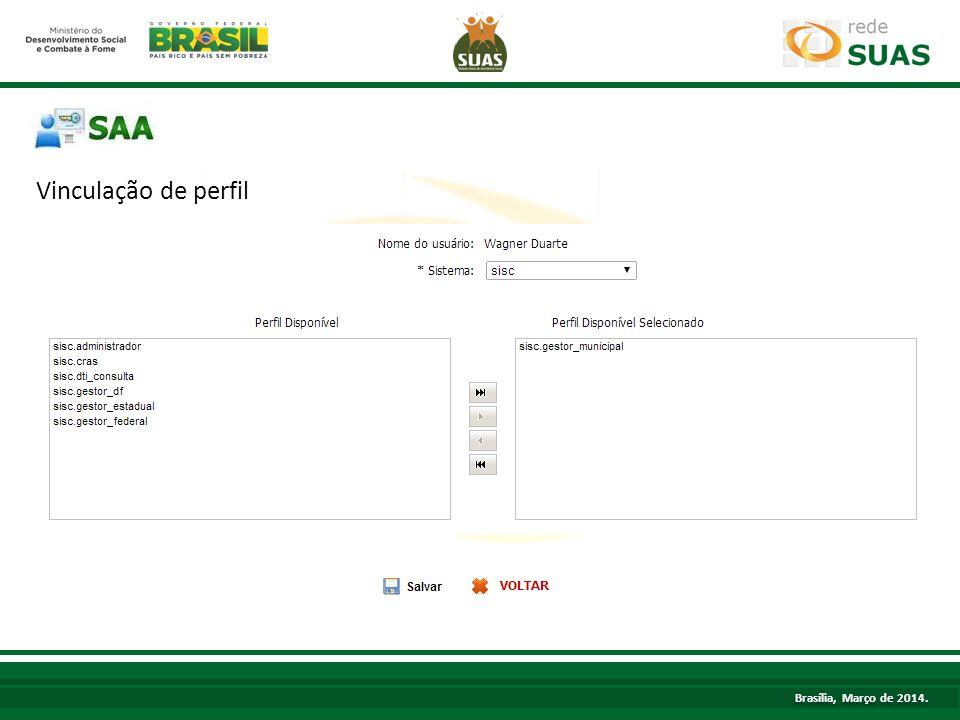 Vinculação de perfil Brasília, Março de 2014.