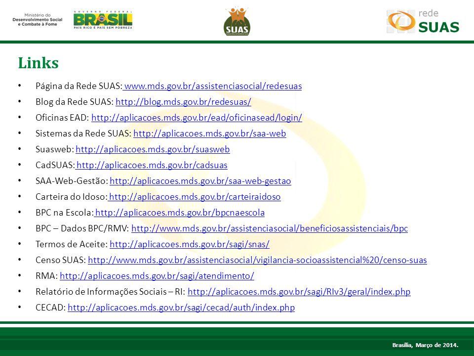 Links Página da Rede SUAS: www.mds.gov.br/assistenciasocial/redesuas