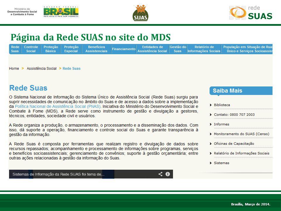 Página da Rede SUAS no site do MDS