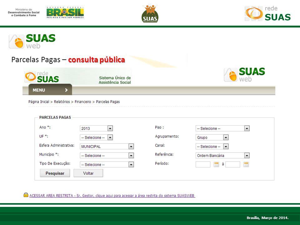 TÍTULO Parcelas Pagas – consulta pública Brasília, Março de 2014.