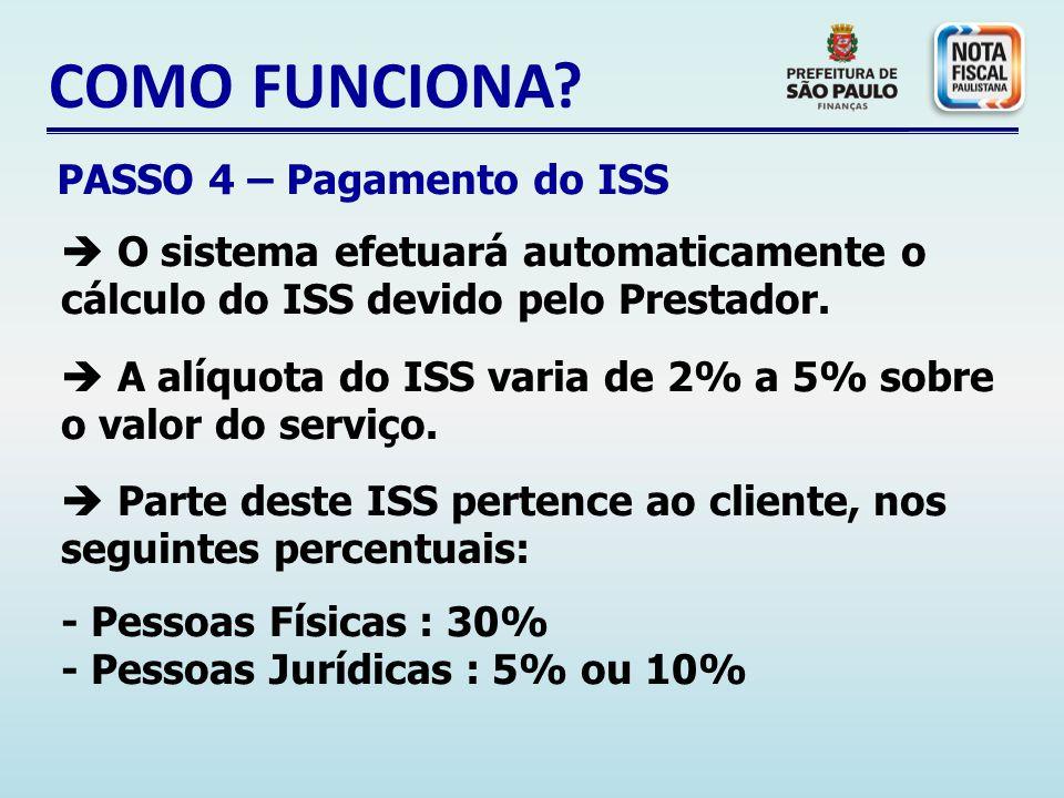 COMO FUNCIONA PASSO 4 – Pagamento do ISS