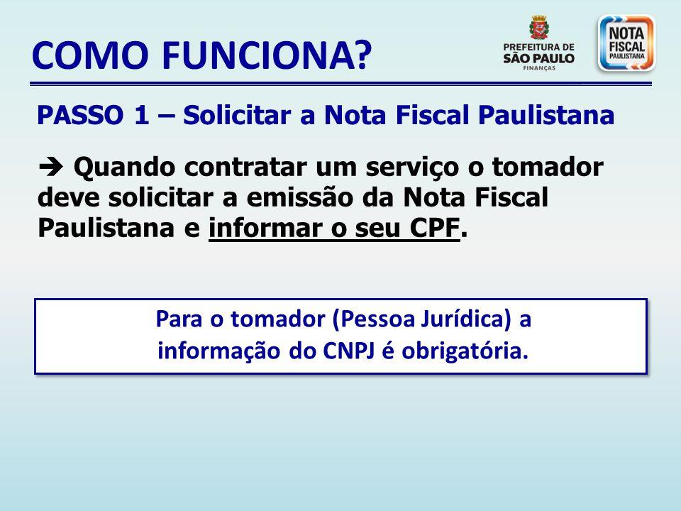 Para o tomador (Pessoa Jurídica) a informação do CNPJ é obrigatória.