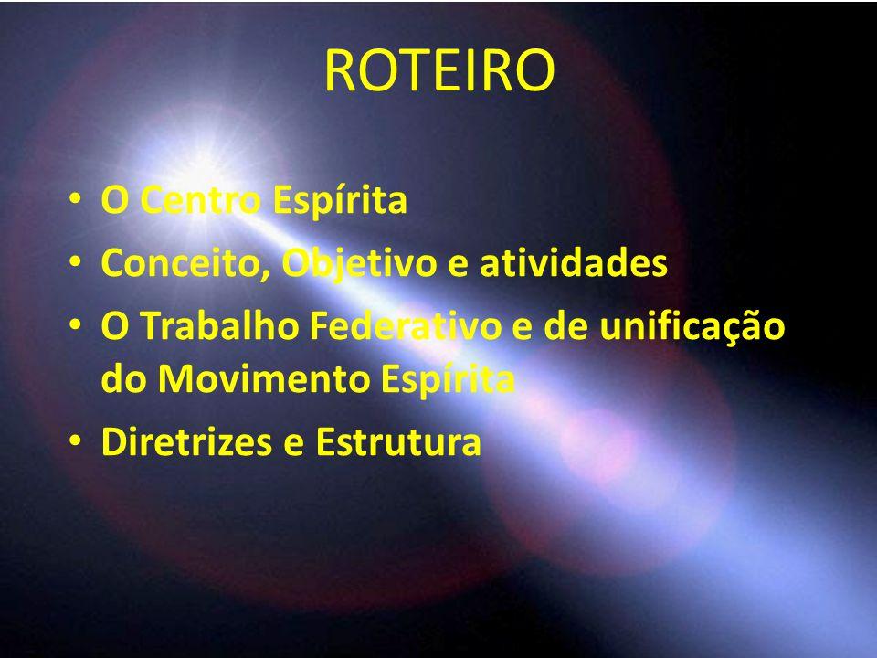 ROTEIRO O Centro Espírita Conceito, Objetivo e atividades