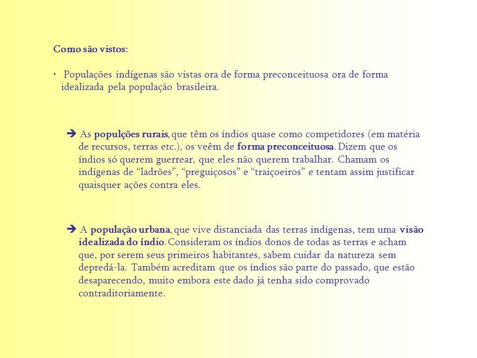 Como são vistos: Populações indígenas são vistas ora de forma preconceituosa ora de forma idealizada pela população brasileira.