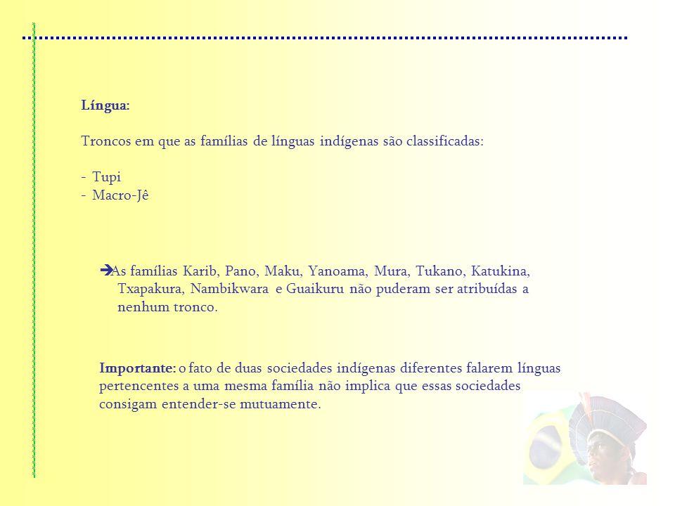 Língua: Troncos em que as famílias de línguas indígenas são classificadas: Tupi. Macro-Jê.