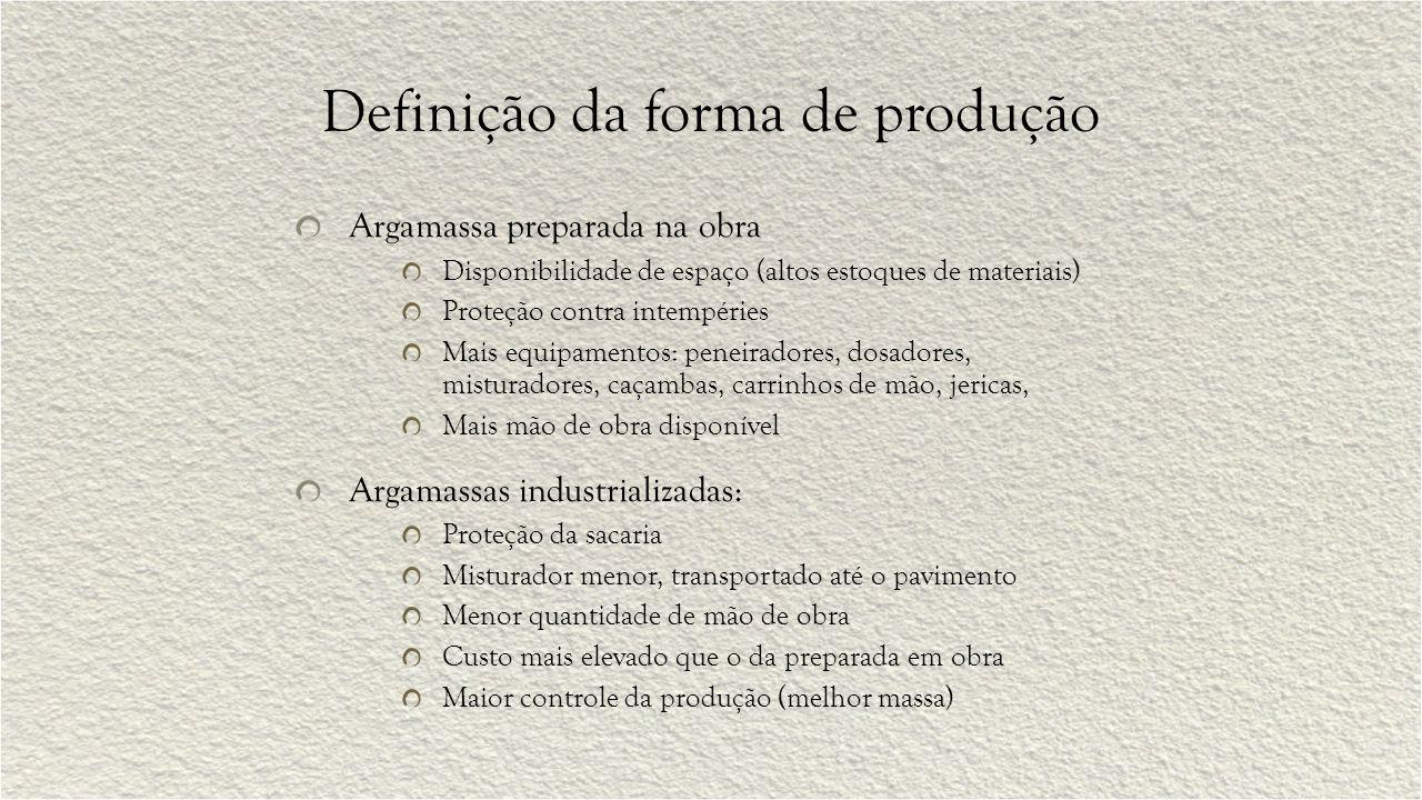 Definição da forma de produção