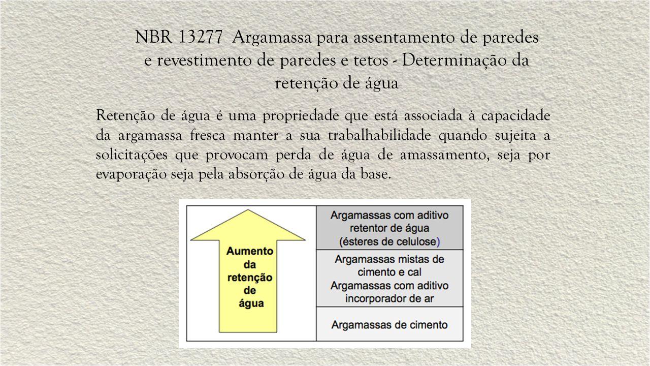 NBR 13277 Argamassa para assentamento de paredes e revestimento de paredes e tetos - Determinação da retenção de água