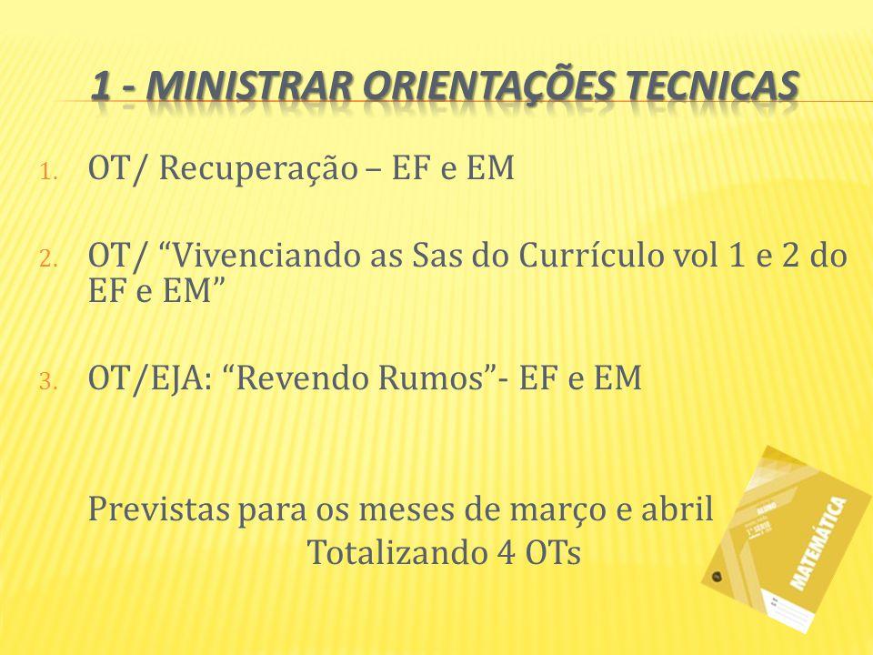 1 - Ministrar orientações tecnicas
