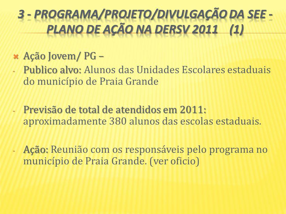 3 - PROGRAMA/PROJETO/DIVULGAÇÃO DA SEE - Plano de Ação na DERSV 2011 (1)