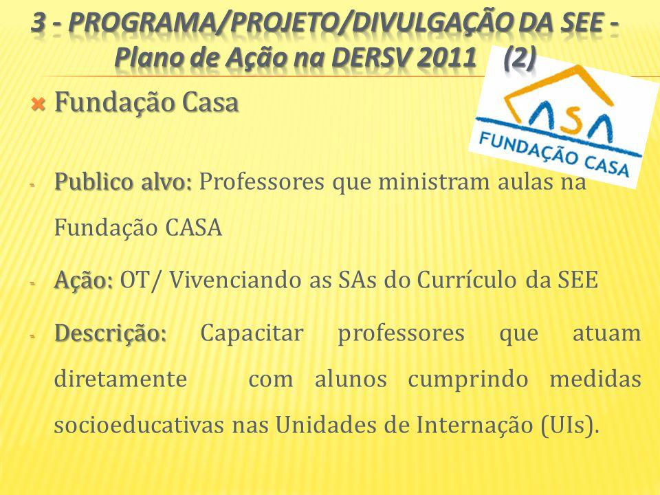 3 - PROGRAMA/PROJETO/DIVULGAÇÃO DA SEE - Plano de Ação na DERSV 2011 (2)