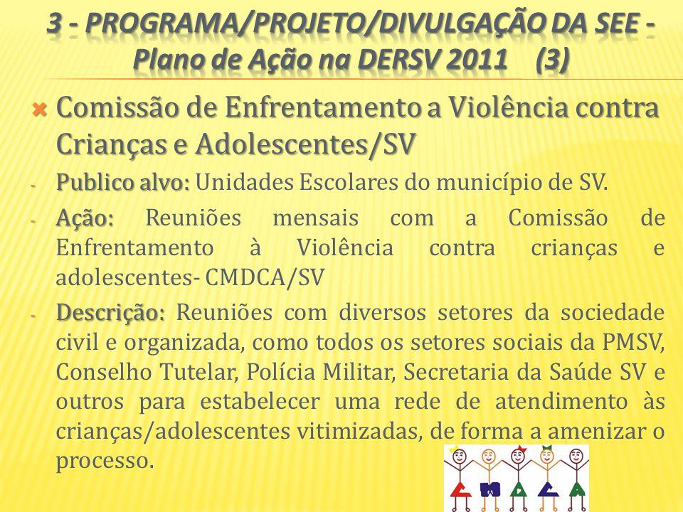 3 - PROGRAMA/PROJETO/DIVULGAÇÃO DA SEE - Plano de Ação na DERSV 2011 (3)