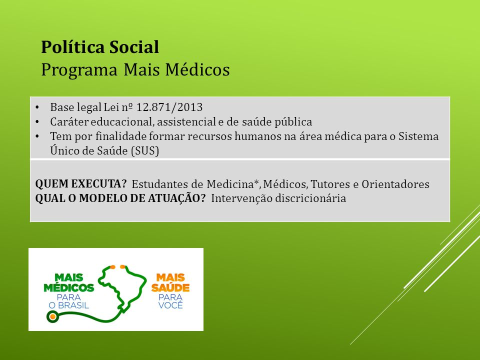 Política Social Programa Mais Médicos Base legal Lei nº 12.871/2013