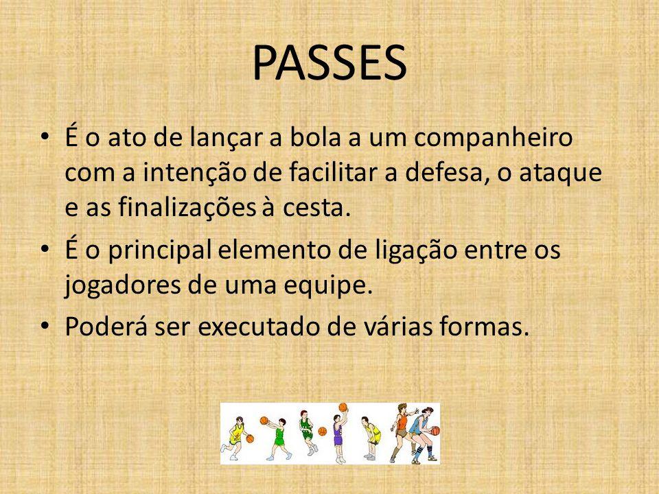 PASSES É o ato de lançar a bola a um companheiro com a intenção de facilitar a defesa, o ataque e as finalizações à cesta.