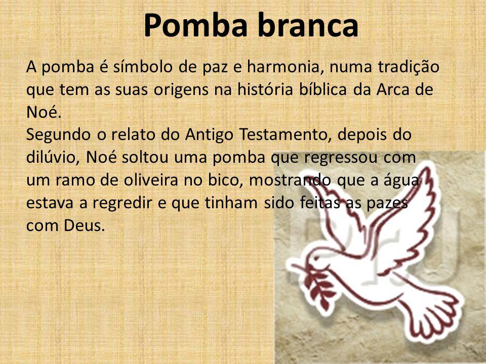 Pomba branca A pomba é símbolo de paz e harmonia, numa tradição que tem as suas origens na história bíblica da Arca de Noé.