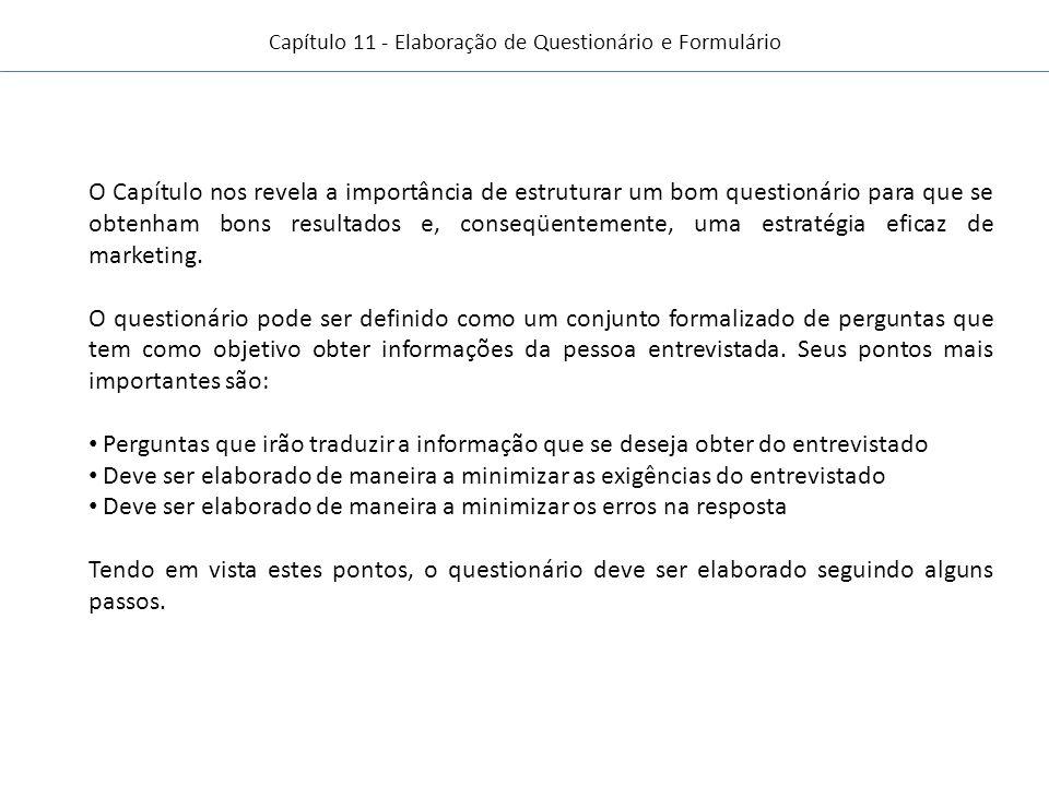Capítulo 11 - Elaboração de Questionário e Formulário