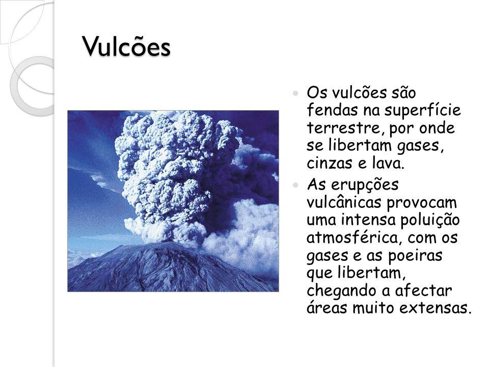 Vulcões Os vulcões são fendas na superfície terrestre, por onde se libertam gases, cinzas e lava.