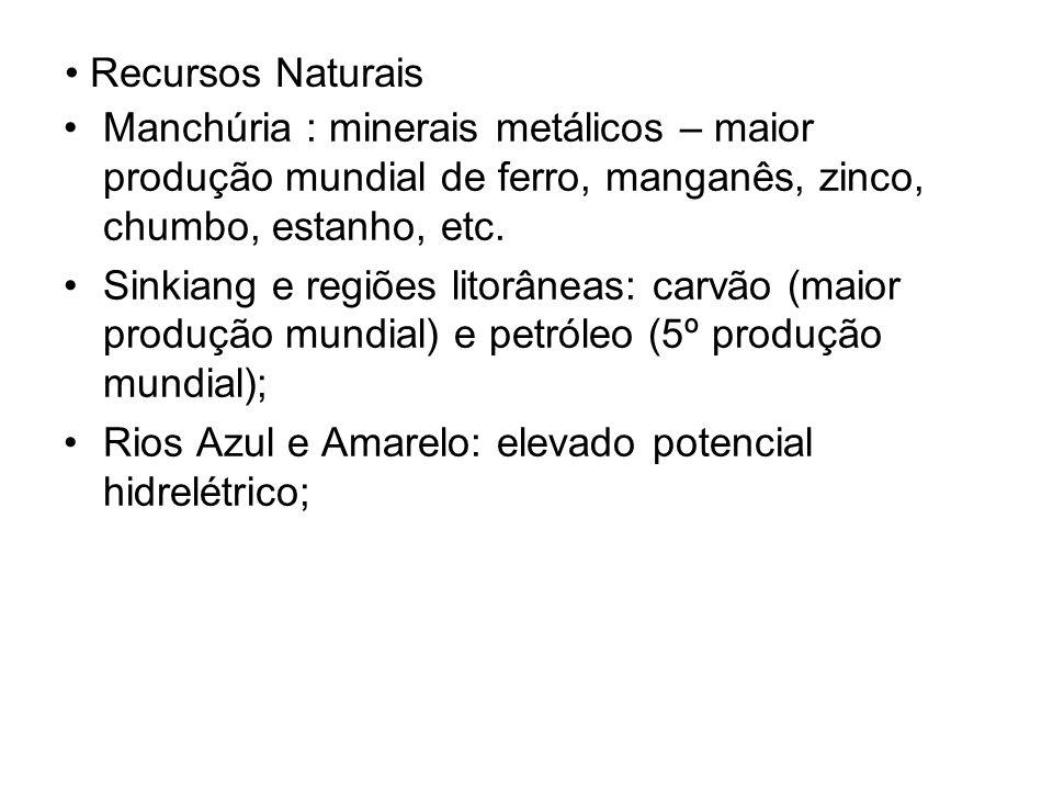 Recursos Naturais Manchúria : minerais metálicos – maior produção mundial de ferro, manganês, zinco, chumbo, estanho, etc.