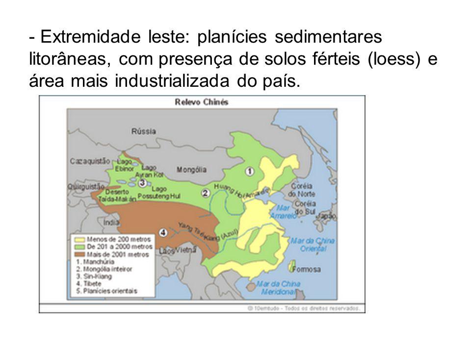 - Extremidade leste: planícies sedimentares litorâneas, com presença de solos férteis (loess) e área mais industrializada do país.