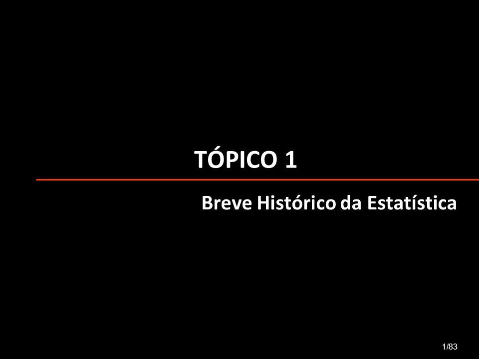 TÓPICO 1 Breve Histórico da Estatística 1/83