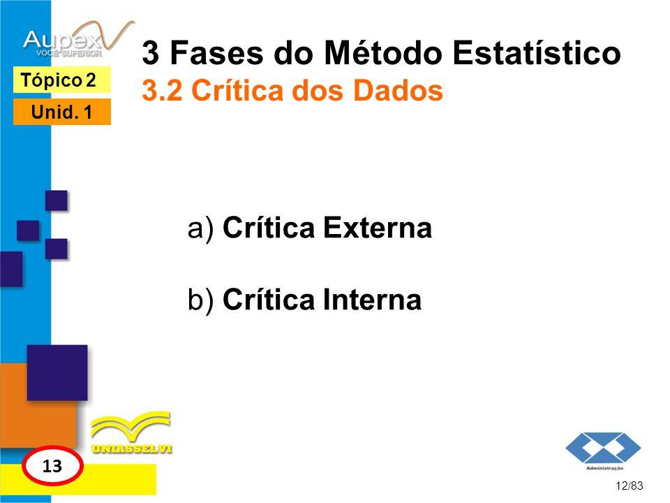 3 Fases do Método Estatístico 3.2 Crítica dos Dados