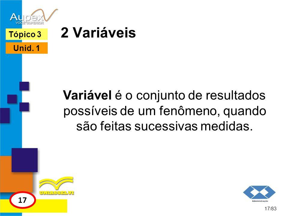 2 Variáveis Tópico 3. Unid. 1. Variável é o conjunto de resultados possíveis de um fenômeno, quando são feitas sucessivas medidas.