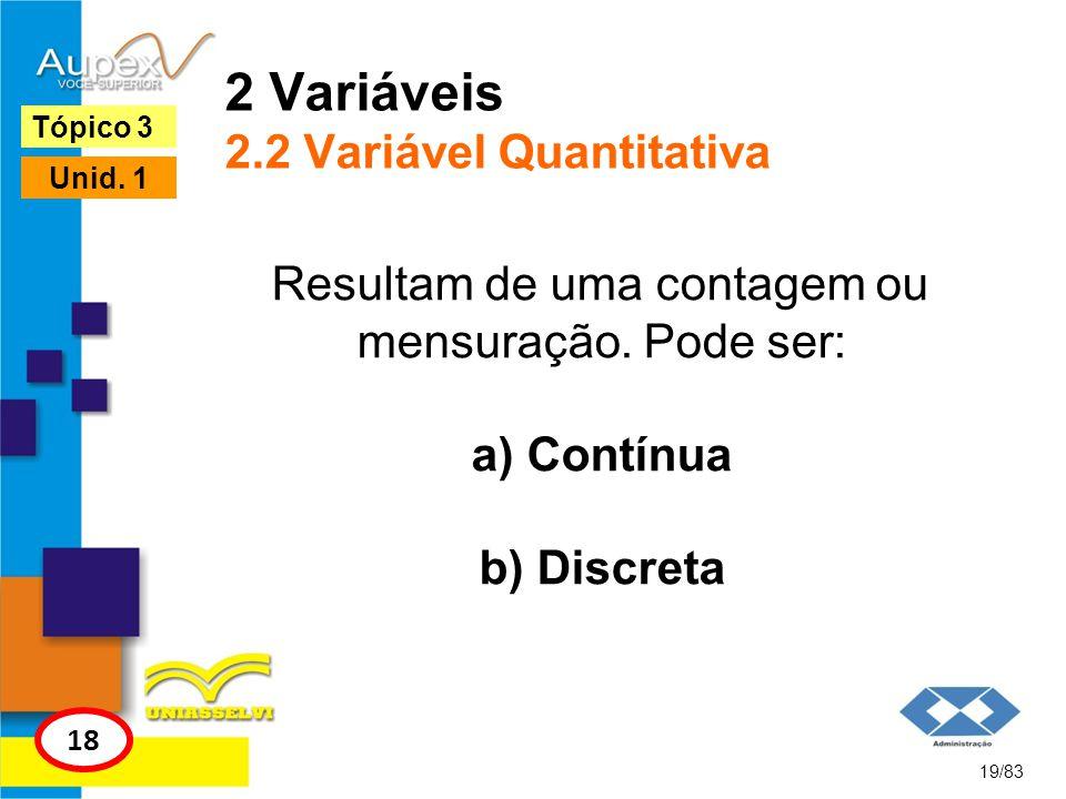 2 Variáveis 2.2 Variável Quantitativa