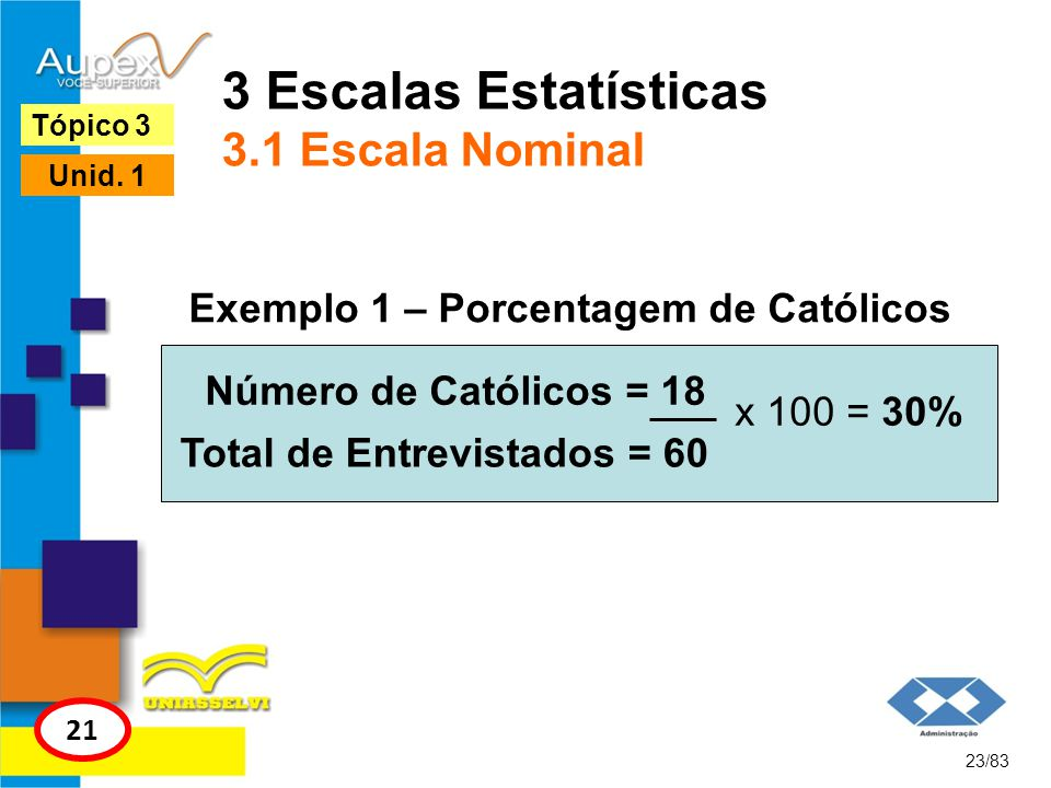 3 Escalas Estatísticas 3.1 Escala Nominal